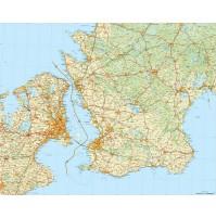 Skåne med östra Själland Norstedts 1:150 000, 124x100cm
