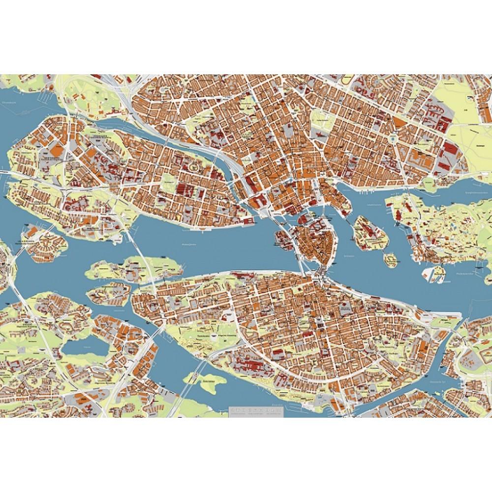 Stockholm by Kartbutiken 100x70cm (grön-orange)