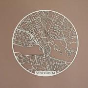 Stockholm Träkarta rund 59cm Papurino