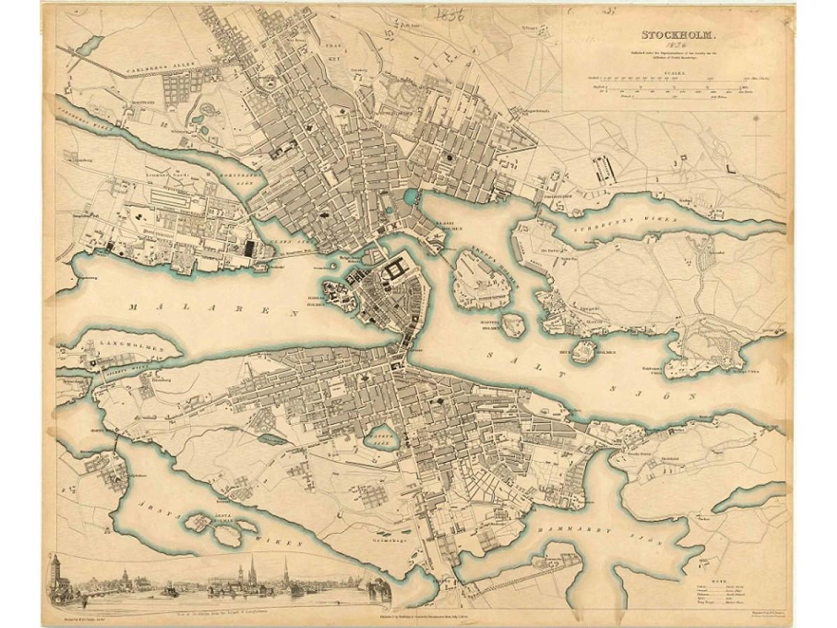 karta över hotell stockholm Köp Stockholm: 1836 års karta över Stockholm med snabb leverans  karta över hotell stockholm