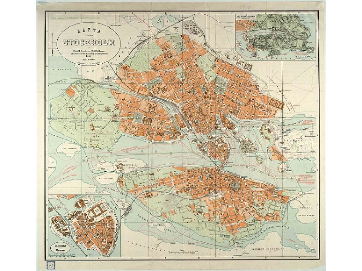karta över hotell stockholm Köp Stockholm: 1908 års karta över Stockholm med snabb leverans  karta över hotell stockholm