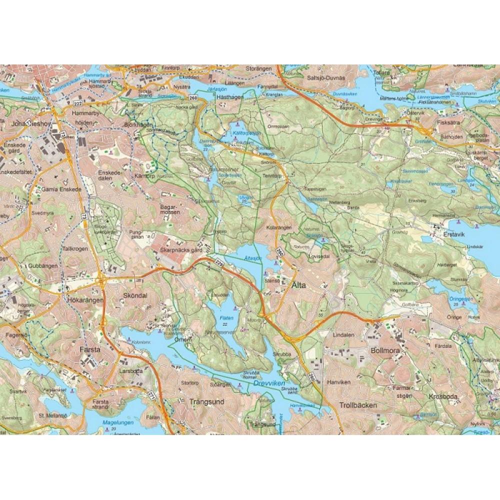 Stockholm väggkarta 1:50 000, 70x100cm