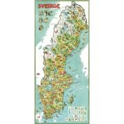 Sverige 1953 Väggkarta