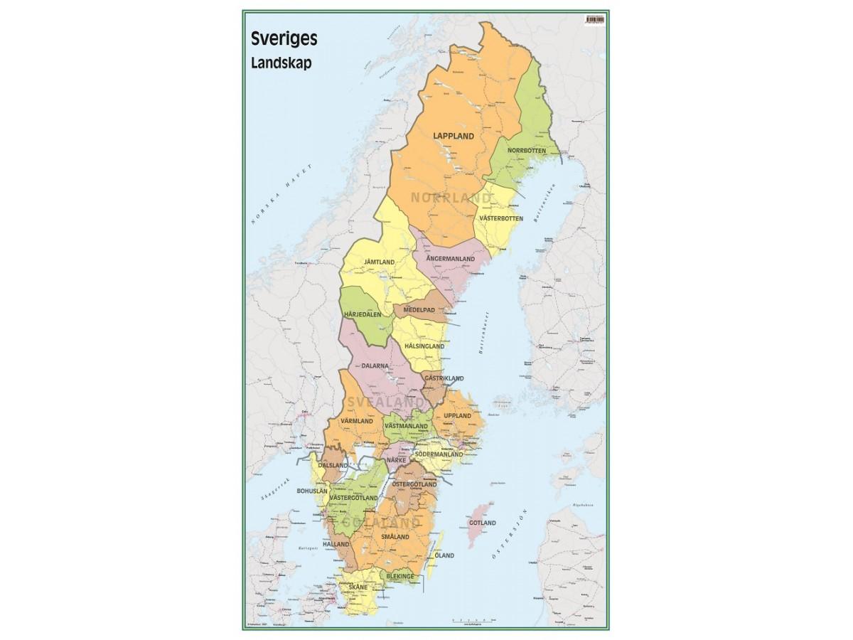 Kop Sveriges Landskap 50x83cm Med Snabb Leverans Kartbutiken Se