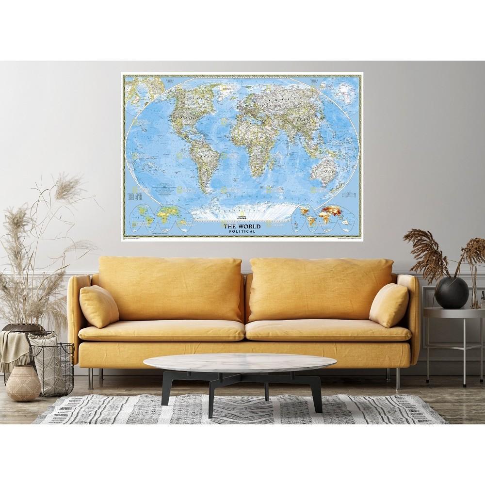 Världen NGS 1:24milj POL 176x122cm med ram