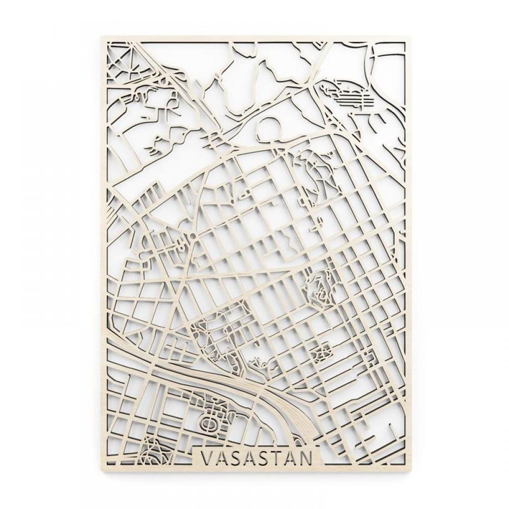 Vasastan Träkarta 40x56cm Papurino